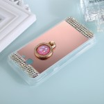 For Samsung Galaxy J5 (2017) (US Version) Diamond Encrusted Electroplating Mirror Protective Cover Case with Ring Holder(Rose Go