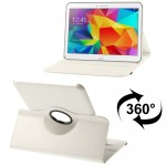 360 Degree Rotatable Litchi Texture Leather Case with 2-angle Viewing Holder for Samsung Galaxy Tab 4 10.1 / SM-T530 / T531 (Whi