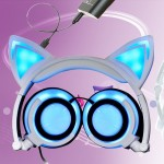 USB Charging Foldable Glowing Cat Ear Headphone Gaming Headset with LED Light & AUX Cable, For iPhone, Galaxy, Huawei, Xiaomi, L