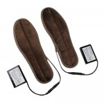 Lithium Battery Powered & Rechargeable Heated Insoles Keep Feet Warm Pad, Keep Warm 8-9 hours, Size: 43-44 yard (Brown)