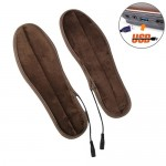USB Electric Powered Heated Insoles Keep Feet Warm Pad with USB Cable, Size: 35-36 yard (Brown)
