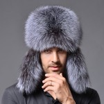 Winter New Style Fox Hair LeiFeng Men Hats, Thick Warm Middle and Old People Ear Protection Winter Fur Hat(Grey)