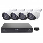 4CH H.264 720P HD Bullet IP Camera NVR Kit, 30m IR Night Vision, Support Video / Audio Input