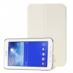 Frosted Texture Flip Leather Case with Holder for Samsung Galaxy Tab 3 Lite T110 / T111 (White)