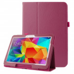 Litchi Texture Flip Leather Case with Holder for Samsung Galaxy Tab 4 10.1 / T530 (Magenta)