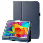 Litchi Texture Flip Leather Case with Holder for Samsung Galaxy Tab 4 10.1 / T530 (Dark Blue)