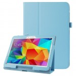 Litchi Texture Flip Leather Case with Holder for Samsung Galaxy Tab 4 10.1 / T530 (Blue)