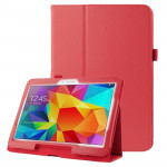 Litchi Texture Flip Leather Case with Holder for Samsung Galaxy Tab 4 10.1 / T530 (Red)