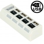 High Speed 4 Ports USB 2.0 HUB with Switch & 4 LED, Plug and Play (White)
