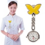 Butterfly Style Portable Alloy Nurse Round Quartz Wristwatch Watch with Pin