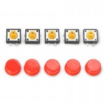 5 PCS LDTR-YJ030 Electrical Power Control 4-Pin Push Button Switches(Red)
