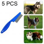 5 PCS Pet Cats Dogs Supplies Combs Fine Toothed Stainless Steel Needle Fleas Removal Combs, Length: 14cm (Blue)