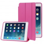3-folding Naturally Treated Leather Smart Case with Sleep / Wake-up Function & Holder for iPad Air(Magenta)