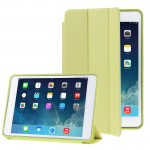 3-folding Naturally Treated Leather Smart Case with Sleep / Wake-up Function & Holder for iPad Air (Fluorescent Green)