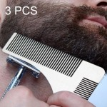 3 PCS L Shaped Stainless Steel Beard Shaper Facial Hair Shaping Tool, Random Color Delivery