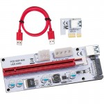 PCE164P-N06 VER008S USB 3.0 PCI-E Express 1x to 16x PCI-E Extender Riser Card Adapter 15 Pin SATA Power with 60cm USB Cable(Red)