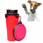Pet Outdoor Portable Dual-use Water and Food Cup with A Folding Bowl (Red)