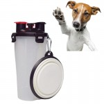 Pet Outdoor Portable Dual-use Water and Food Cup with A Folding Bowl (Transparent)