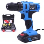VOTO 21V Stepless Speed Regulation Rechargeable Hand Drill Set Electric Drill Power Tools with LED Light, AC 220V, US Plug, Rand