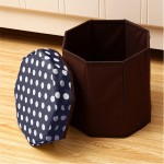 Household Multifunctional Folding Seating Storage Stool (Navy Blue)