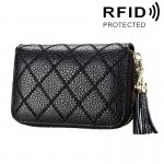 Genuine Cowhide Leather Grid Texture Zipper Card Holder Wallet RFID Blocking Card Bag Protect Case Coin Purse with Tassel Pendan