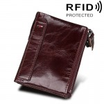 Genuine Cowhide Leather Crazy Horse Texture Dual Zipper Short Style Card Holder Wallet RFID Blocking Card Bag Protect Case for M