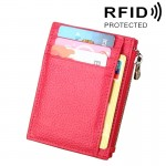 Porte Carte Protection sans contact ANTI RFID Magenta Cuir de vache Solide Couleur Zipper Porte-cartes Portefeuille RFID Bloc...