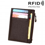 Porte Carte Protection sans contact ANTI RFID café Cuir de vache Solide Couleur Zipper Portefeuille RFID Blocage Porte-Monnai...