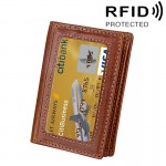 Porte Carte Protection sans contact ANTI RFID brun pour cartes et cadre photo position de d'affaires, taille: 10,6 * 7,6 * 1,...